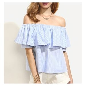 Blue Striped Off the Shouler Ruffle Blouse